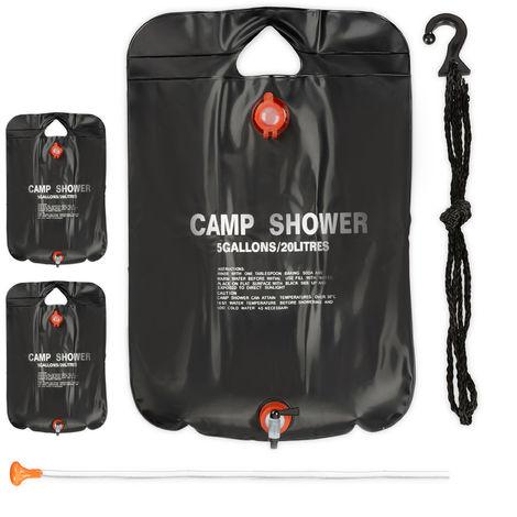 3 x Campingdusche 20 l im Set, Solardusche Camping, zum Aufhängen, faltbar, mit Handbrause, mobile Außendusche, schwarz