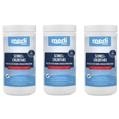 3 x Chlortabletten, Schnellchlor Tabletten 20g, Schnell-ChlorTabs, 3 x 1 KG mediPOOL
