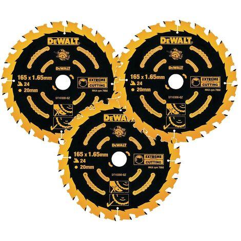 3 x Dewalt DT10300 Circular Saw Blades 165 x 20 x 24T Extreme Framing DWE550