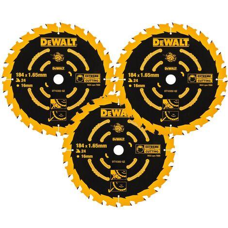 3 x Dewalt DT10302 Circular Saw Blades 184 x 16 x 24T Extreme Framing DWE560