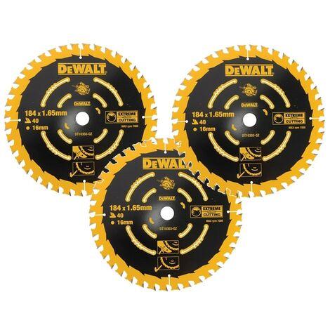 3 x Dewalt DT10303 Circular Saw Blades 184 x 16 x 40T Extreme Framing DWE560