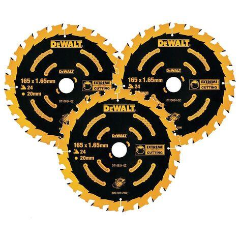 3 x Dewalt DT10624 Circular Saw Blades 165 x 20 x 24T Extreme Framing DCS391