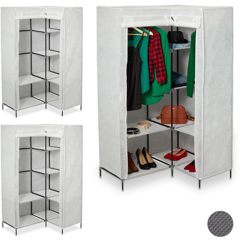 3 x Eckkleiderschrank 3. Generation, 8 Ablagen und 2 Kleiderstangen, Stecksystem, mit 2 Türen, HBT: 169x100x83 cm, weiß - RELAXDAYS