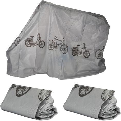 3 x Fahrradgarage aus Polyethylen, reißfeste Schutzhülle, Sonnenschutz, robuste Abdeckung, 200 x 115 cm, Grau