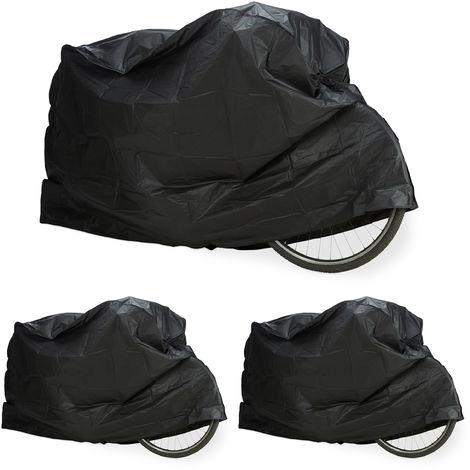 3 x Fahrradgarage aus Polyethylen, reißfeste Schutzhülle, Sonnenschutz, robuste Abdeckung, 200 x 115 cm, Schwarz
