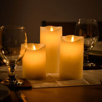 3 x Flickering Flame Real Wax LED Candles