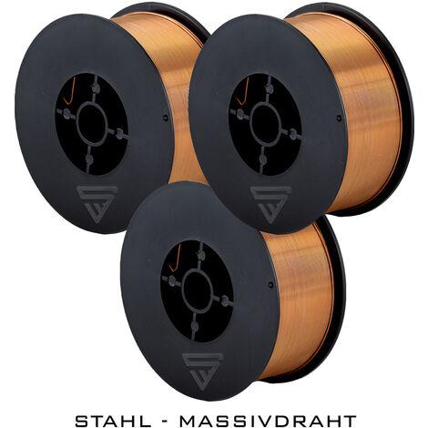 3 x hilo de soldadura STAHLWERK MIG/MAG Ø 0,8 mm, acero SG3 ER70S-6, bobina de 1kg D100 con mandril de 16mm, uso universal