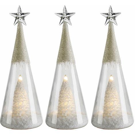 3 x LED cône de verre de table s'allume arbre de Noël X -MAS paillettes décoration étoile lampe