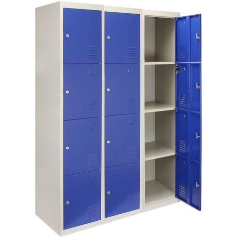 3 x Metal Storage Lockers - Four Doors, Blue - Flatpack