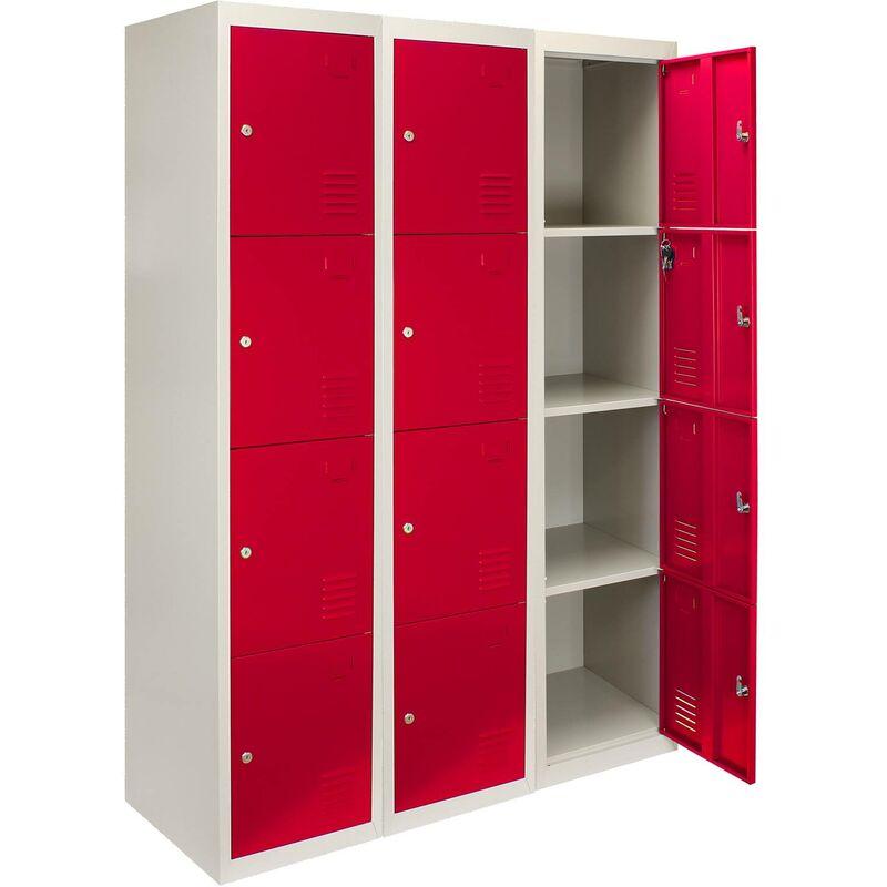 Image of 3 x Metal Storage Lockers - Four Doors, Red
