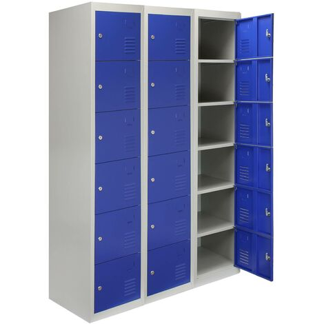 3 x Metal Storage Lockers - Six Doors, Blue