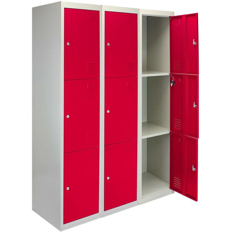 Image of 3 x Metal Storage Lockers - Three Doors, Red