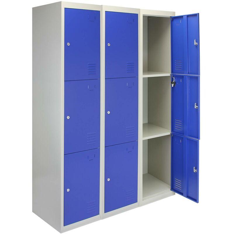 3 x MonsterShop Métal casiers 3 portes de stockage, Flatpack Bleu et gris en métal verrouillable unité Personnel d'école Gym Changement - Bleu