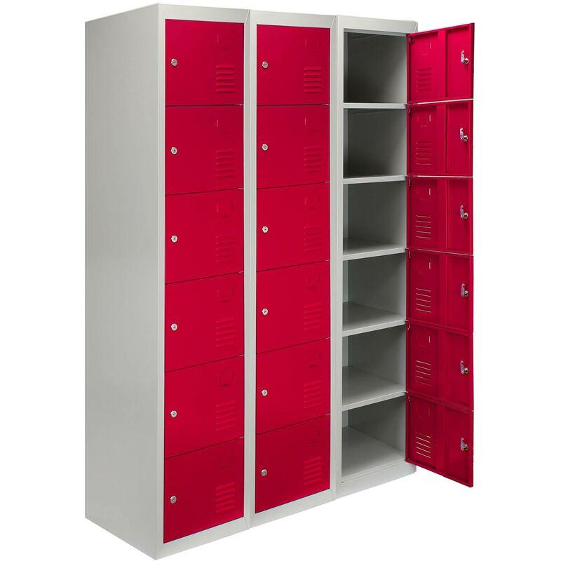 3 x MonsterShop Métal casiers 6 portes de stockage, Flatpack Rouge et gris en métal verrouillable unité Personnel d'école Gym Changement - Rouge