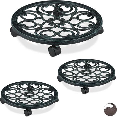 3 x Pflanzenroller rund, Metall, Gefäßroller für innen & außen, antik, Ø 38 cm, Rolluntersetzer Blumentopf, grün