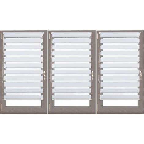 3 x Relaxdays Double Blinds, Klemmfix without Drilling, Side-Pull Shades, Duo Roller Blinds for Windows, Fabric, 60-110 cm Wide, White