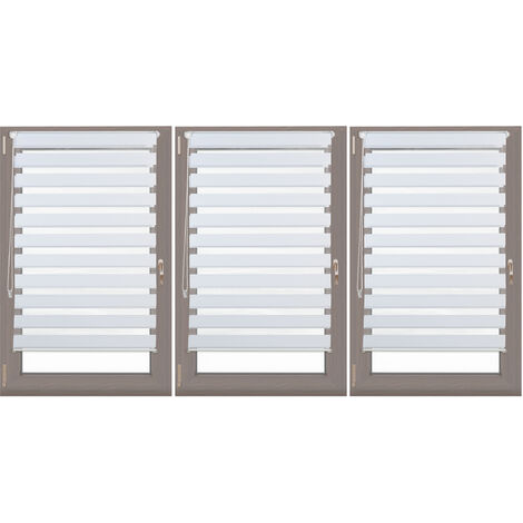 3 x Relaxdays Double Blinds, Klemmfix without Drilling, Side-Pull Shades, Duo Roller Blinds for Windows, Fabric, 85-150 cm Wide, White