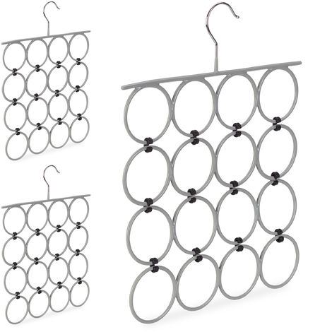 3 x Scarf Hanger, Folding Holder for Ties & Belts, 16 Rings, Compact Closet Organiser, Grey