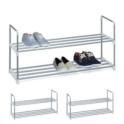3 x Schuhregal Metall, 2 Ablagen, beliebig erweiterbar, Schuhablage für 8 Paar Schuhe, HBT: ca 45 x 90 x 30 cm, silber