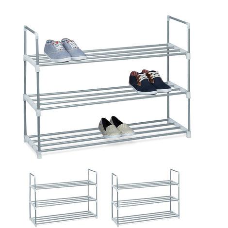 3 x Schuhregal Metall, 3 Ablagen, beliebig erweiterbar, Schuhablage für 12 Paar Schuhe, HBT: ca 70 x 90 x 31 cm, silber