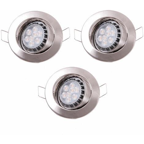 3 x spot DEL luminaire éclairage encastré LED 8 watts projecteur dimmable fer brossé