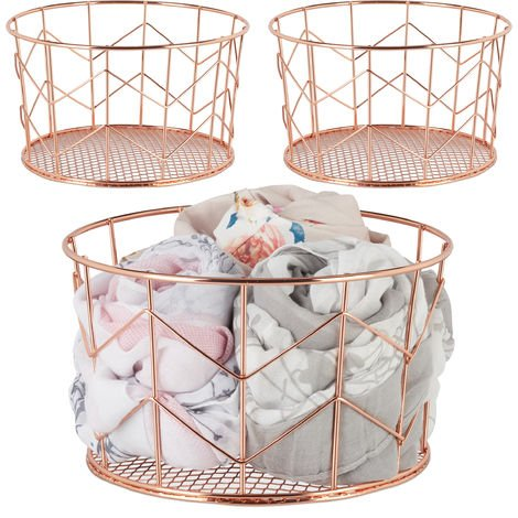 3 x Wire Mesh Basket, Round Vintage Fruit Bowl, Decorative, Metal, ∅ 21.5 cm, Copper