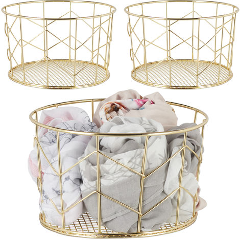 3 x Wire Mesh Basket, Round Vintage Fruit Bowl, Decorative, Metal, ∅ 21.5 cm, Gold