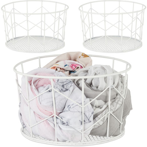3 x Wire Mesh Basket, Round Vintage Fruit Bowl, Decorative, Metal, ∅ 21.5 cm, White