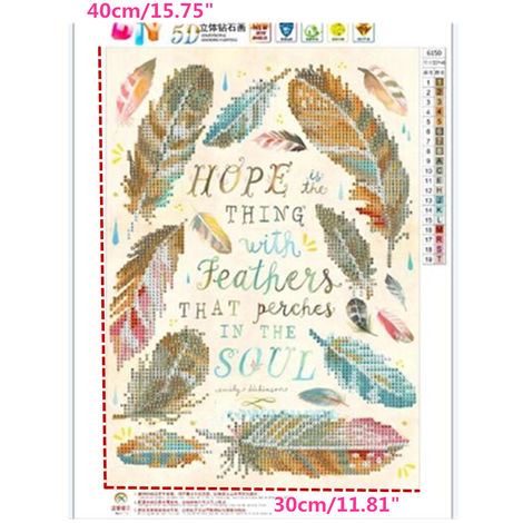 30 * 40Cm Diy 5D Cross Stitch Feather Embroidery Diamond Painting Home Decor