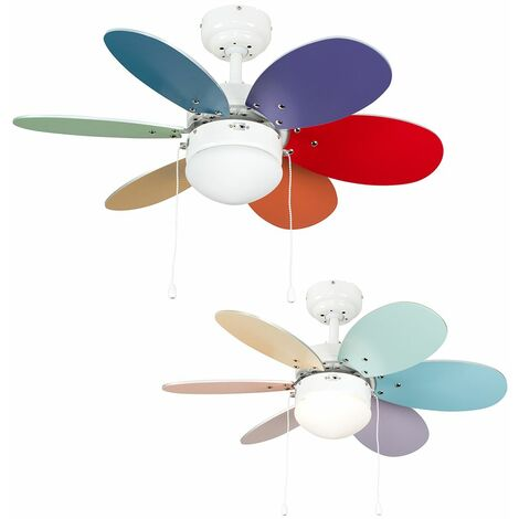 """30"""" 76Cm White Metal Ceiling Fan + 6 Multi-Coloured Reversible Blades & Frosted Glass Light Shade Remote Control"""