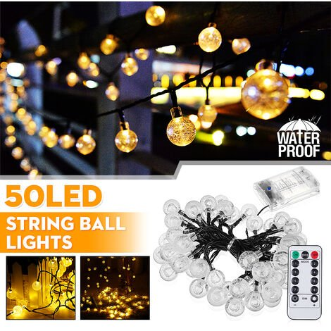 30 LEDs String Ball Lights Outdoor Garden Party Wedding Decor Waterproof White