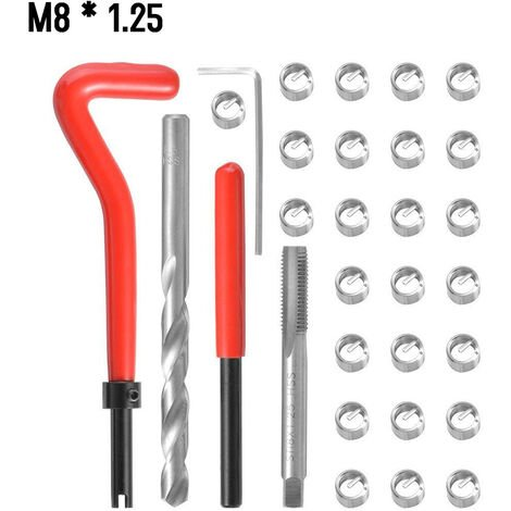 30 Pieces Kit D\'Insert De Reparation De Filetage Metrique M5 M6 M8 M10 M12 M14 Helicoil Car Pro Bobine Outil M8 * 1.25
