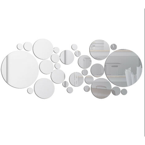 """main image of """"30 pieces mirror circle circle stickers round mirrors decoration of the house"""""""