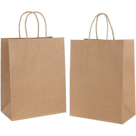 30 Pièces Sac Kraft,Sac en Papier Kraft avec Poignée,Sac Papier Cadeau,Papier Cadeau Recyclable,Sachet Papier pour Anniversaire Mariage Noël et Célébrations de Fête(épaissir, 130gsm)