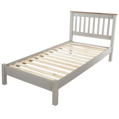 "3'0"" Slatted Lowend Bedstead, Grey Waxed Finish"
