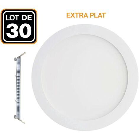 30 Spots Encastrable LED Downlight Rond Extra-Plat 18W Blanc Froid 6000K