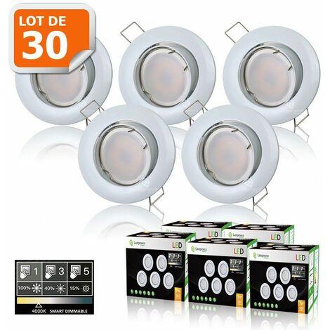 30 SPOTS LED DIMMABLE SANS VARIATEUR 7W eq.56w BLANC NEUTRE ORIENTABLE FINITION BLANC