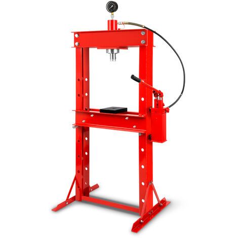 30 T Prensa hidráulica de taller con Manómetro (2 Placas Arbor, Altura de trabajo 820 mm 8 vías ajustables, Anchura de trabajo 530 mm)