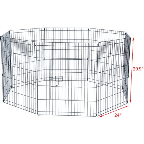 "30"" Tall Wire Fence Pet Dog Cat Folding Exercise Yard 8 Panel Metal Play Pen QWGT694-30"