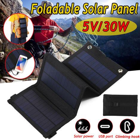 30 W Kit Panneau Solaire Pliable Chargeur avec USB Port Camping Randonnée