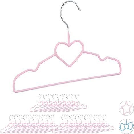 30 x Children's Coat Hangers Heart, Compart Wire Holders, PVC-Coating, 30 cm, Pink