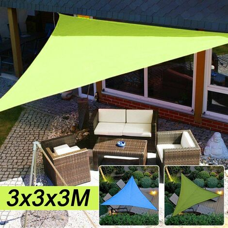 300 * 300 * 300cm Triangular Waterproof UV Sun Shade Sail Mat Garden Patio Mat Cover Awning Canopy Tent Shelter Bache Rain Pool Hammock Camping W / Bag (armygreen, Type A Only