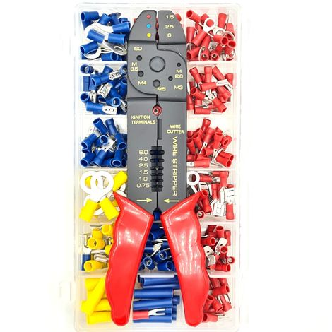 300 Piece Crimp Terminal Kit with Crimping Stripping Tool
