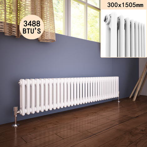 300 x 1505 mm Traditional Column Radiators Horizontal Double Panel Cast Iron Central Heating Rads