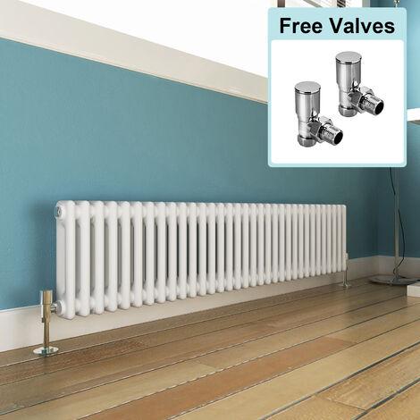 300 x 1505 mm Traditional Column Radiators Horizontal Double Panel Cast Iron Central Heating Rads + Angled Radiator Valves