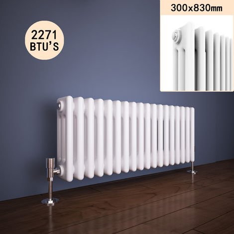 300 x 830 mm Traditional Column Radiators Horizontal Triple Panel Cast Iron Central Heating Rads
