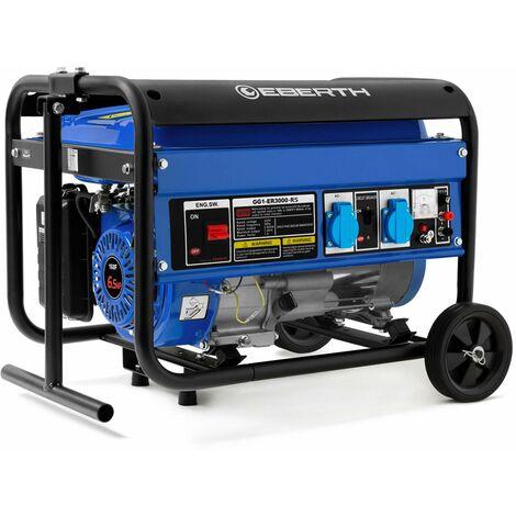 3000 W Generador de corriente con chasis (Motor de gasolina de 4 tiempos y 6,5 CV, 2x 230 V, 1x 12 V, Regulación de voltaje AVR, Seguridad por falta de aceite, Voltímetro) Grupo electrógeno