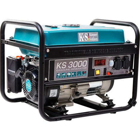 3000 Watt Benzin Stromerzeuger, 2x16A (230V), 12V, Automatischer Voltregler (AVR), Ölmangelsicherung, Überspannungsschutz, Anzeige (Volt, Hz, Arbeitszeit), KS 3000, Generator, Stromaggregat, 100% Kupfer