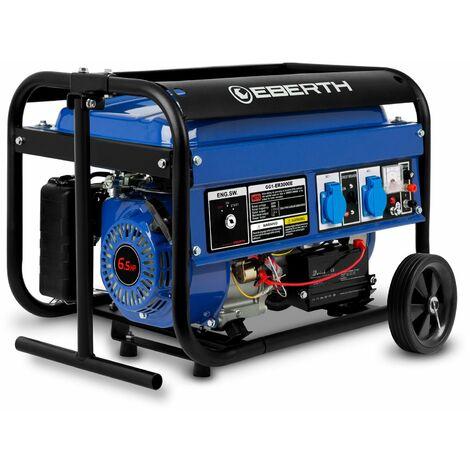 3000 Watt Benzin Stromerzeuger (Fahrgestell, 6,5 PS Benzinmotor, 4-Takt, luftgekühlt, 2x 230 V, 1x 12 V, E-Start, Automatischer Voltregler AVR, Ölmangelsicherung, Voltmeter) Generator Notstromaggregat