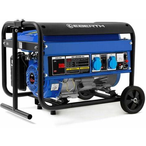 3000 Watt Générateur électrique (6,5 CV Moteur à essence 4 temps, Refroidi à lair, 2x 230V, 1x 12V, Régulateur de tension automatique AVR, Alarme manque dhuile, Voltmètre, châssis robuste)